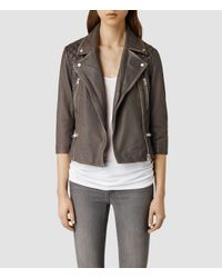 AllSaints | Natural Cropped Cargo Leather Biker Jacket | Lyst