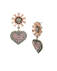 Betsey Johnson | Pink Baguette Stone Flower And Pave Heart Drop Earring | Lyst