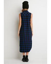 Forever 21 - Blue Raw-cut Flannel Shirt Dress - Lyst