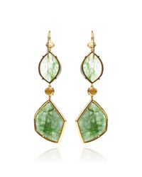 Mark Cross - Green Emerald Slice and Rough Diamond Earrings - Lyst