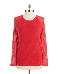 T Tahari | Red Rib-knit Sweater | Lyst