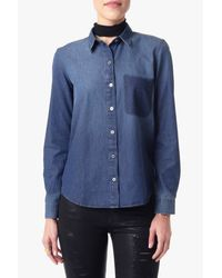7 For All Mankind | Blue Shadow Pocket Denim Shirt In Shadow Sky | Lyst