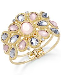 INC International Concepts | Metallic Gold-tone Pink And Black Stone Floral Hinge Bangle Bracelet | Lyst