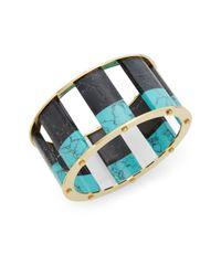Lele Sadoughi | Multicolor Slider Howlite, Marble & 14k Goldplated Cuff Bracelet | Lyst