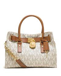 d206d7cd49c Lyst - MICHAEL Michael Kors Hamilton Logo Satchel Bag in Brown