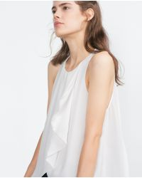 Zara | Natural Top With Frill | Lyst