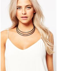 Oasis | Black 3 Bar Torque Necklace | Lyst