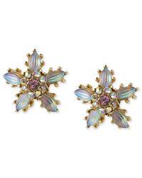 Betsey Johnson | Metallic Antique Gold-tone Crystal Flower Stud Earrings | Lyst