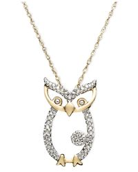 Macy's - Metallic 14k Gold Pendant, Diamond Accent Owl - Lyst