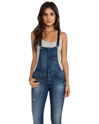 Frankie B. Jeans | Hipster Overall with Leather Strap in Blue | Lyst