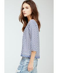 Forever 21 - Blue Floral Print Top - Lyst