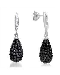 Amanda Rose Collection - Sterling Silver Dangle Earrings Made With Black And White Swarovski Crystals - Lyst