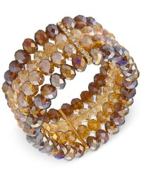Carolee | Metallic Top Of The Rock Gold-tone 4-row Beaded Stretch Bracelet | Lyst