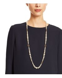Tory Burch | White Crystal-pearl Long Necklace | Lyst