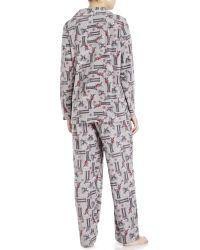 Ellen Tracy - Gray Deer Print Fleece Pajama Set - Lyst