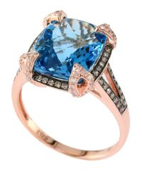 Effy | Blue Bleu Rose 14 Kt. Rose Gold Topaz And Diamond Ring | Lyst