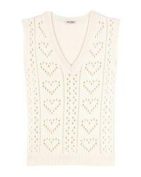Miu Miu - White Knitted Cashmere Sweater Vest - Lyst