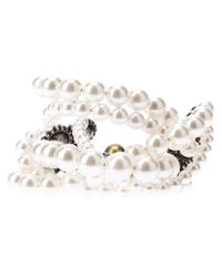 Lanvin - White Faux Pearl and Crystal Bracelet - Lyst