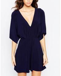 ASOS - Blue Kimono Plunge Mini Dress - Lyst