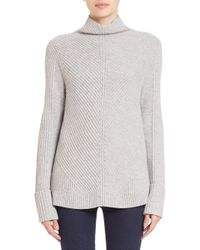Vince - Gray Directional Wool & Cashmere Ribbed Sweater - Lyst