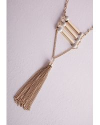 Missguided | Metallic Marble Detail Tassel Tired Necklace | Lyst