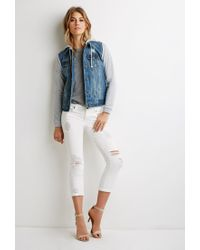 Forever 21 | Blue Contemporary Life In Progress Hooded Denim Jacket | Lyst