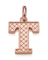 Monica Vinader - Pink Rose Gold-plated Alphabet Pendant T - Lyst