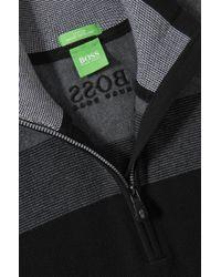 BOSS Green Black Zip-neck Sweater 'zelchior Pro' In Water-repellent Cotton Blend for men