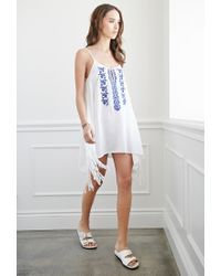 Forever 21 | White Tasseled Cami Peasant Dress | Lyst