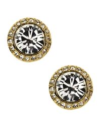 Givenchy | Metallic 10kt. Gold Plated And Swarovski Crystal Button Stud Earrings | Lyst