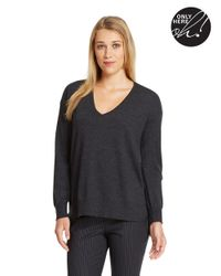 424 Fifth | Gray Merino Wool V Neck Pullover | Lyst
