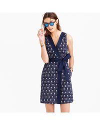 J.Crew - Blue Silkjacquard Shirt Dress - Lyst