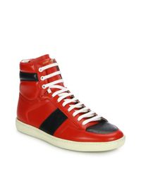 Saint Laurent | Red Colorblocked Leather High-top Sneakers for Men | Lyst