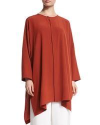 Eskandar - Brown Wide Silk Shirt Jacket - Lyst