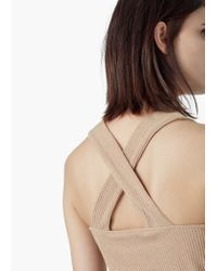 Mango - Metallic Ribbed Top - Lyst