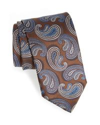 Canali | Brown Paisley Silk Tie for Men | Lyst