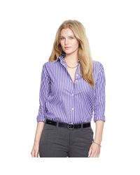 Ralph Lauren - Purple Striped Cotton Poplin Shirt - Lyst