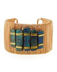 Panacea - Blue Bar-embellished Chain Cuff Bracelet - Lyst