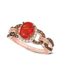 Le Vian | Pink Fire Opal (5/8 Ct. Diamond And Chocolate Diamond (3/8 Ct. T.w.) Link Ring In 14k Rose Gold | Lyst