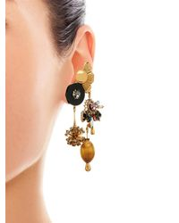 Vickisarge | Metallic Sylvia Crystal Charm Earrings | Lyst