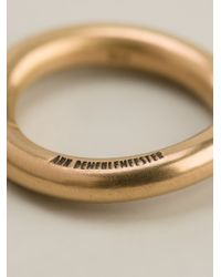 Ann Demeulemeester | Metallic 22kt Gold Curved Ring | Lyst