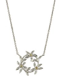 Cathy Waterman | Metallic Diamond Circle Of Flowers Pendant Necklace | Lyst