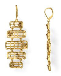 T Tahari - Metallic Sticks Stones Statement Earrings - Lyst