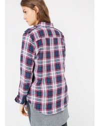 Mango - Blue Check Cotton-Twill Shirt - Lyst
