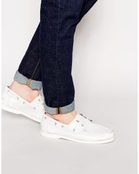 ASOS - White Boat Shoes In Leather for Men - Lyst
