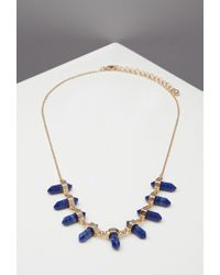 Forever 21 | Blue Faux Stone Stud Necklace | Lyst