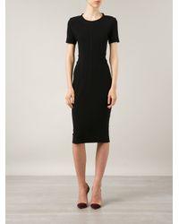 By Malene Birger - Black Short Sleeve Fitted Dress - Lyst