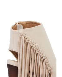 AKIRA | Natural Open Toe Fringe Heeled Booties - Beige | Lyst