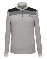 BOSS Green - Gray Sweater 'zelchior_pro' In Functional Fabric for Men - Lyst