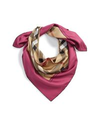 Burberry - Pink Horseferry Check Silk Square Scarf - Lyst